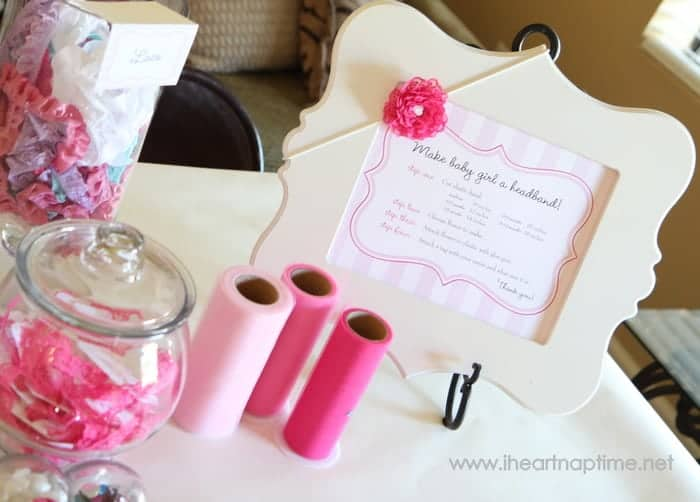 Hair Bow Station- 8 Fun Baby Shower Crafts and Party Activities.