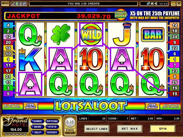 Lots A Loot jackpot screen