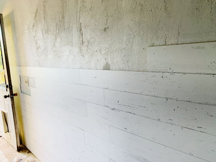 Wall planks applied halfway up the wall.