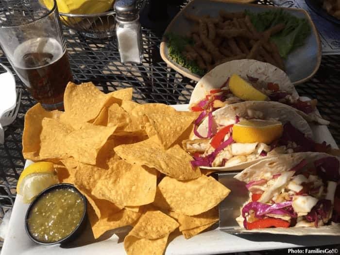 Fish tacos at christiansen's tavern at jiminy