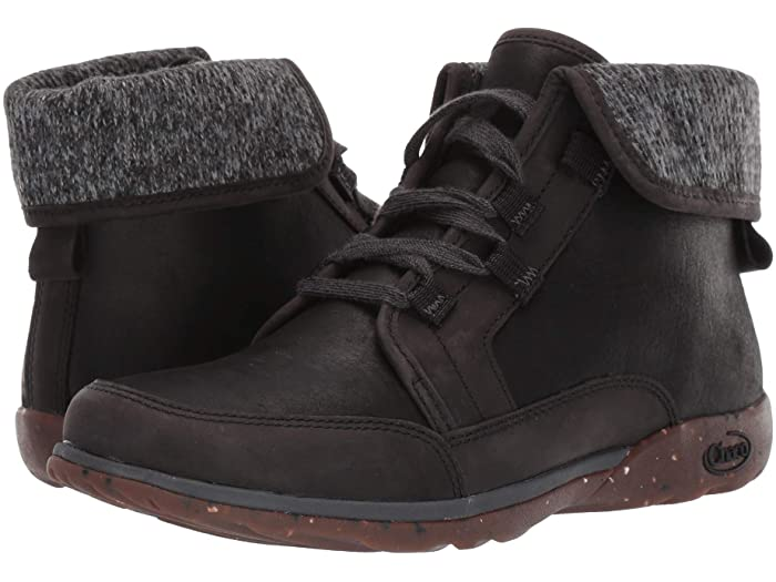 Black chaco barbary boots will keep your feet warm, dry and comfortable deep into fall. Fold the cuff up or down, depending on how warm you need to be.