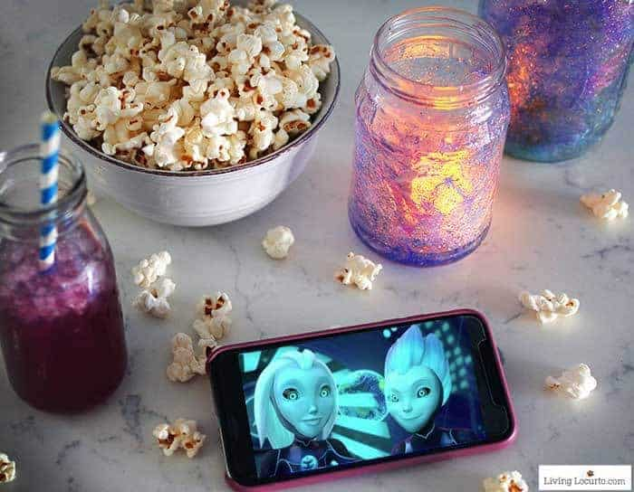 How to make Glow in the DarkGalaxy Jars. An easy DIY craft tutorial and party decor idea for kids. Inspired by 3Below, a kid Netflix series.