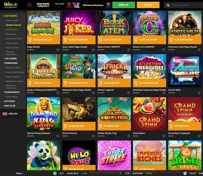 Winz Casino Jackpot Games