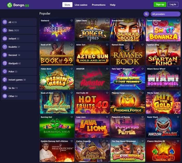 Bongo CasinoWebsite Review