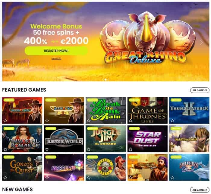 50 free spins on Great Rhino slot