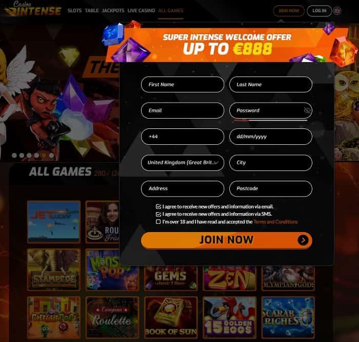 CasinoIntense.com $10 free bonus