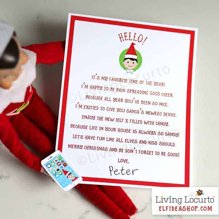 Elf Phone Gift. Printable Elf Arrival letter from the North Pole is an easy Christmas Elf arrival idea! By LivingLocurto.com