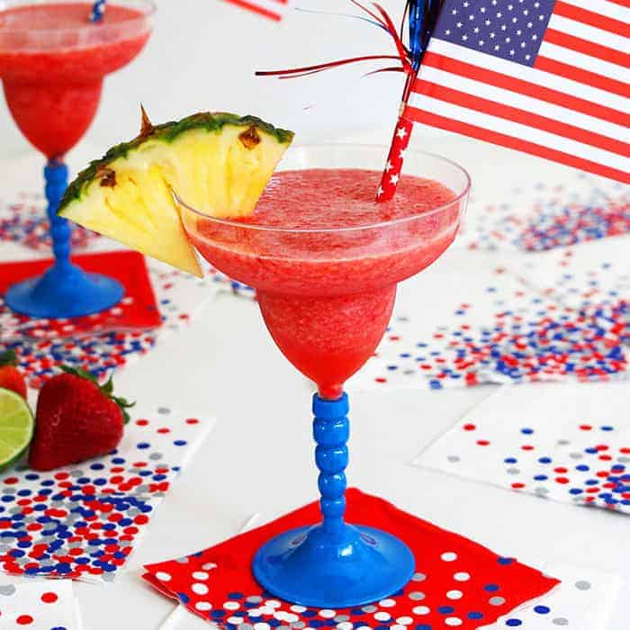 A Frozen Pineapple Strawberry Margarita is a simple and festive cocktail perfect for summer. Easy Red, white and blue 4th of July Party Food