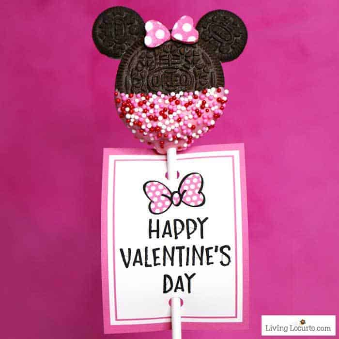 Minnie Mouse Cookie Pops are an easy Disney party dessert made with OREO cookies and free printable Valentine's Day tags. LivingLocurto.com