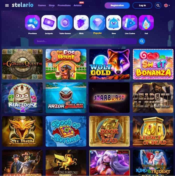 Stelario Casino Homepage