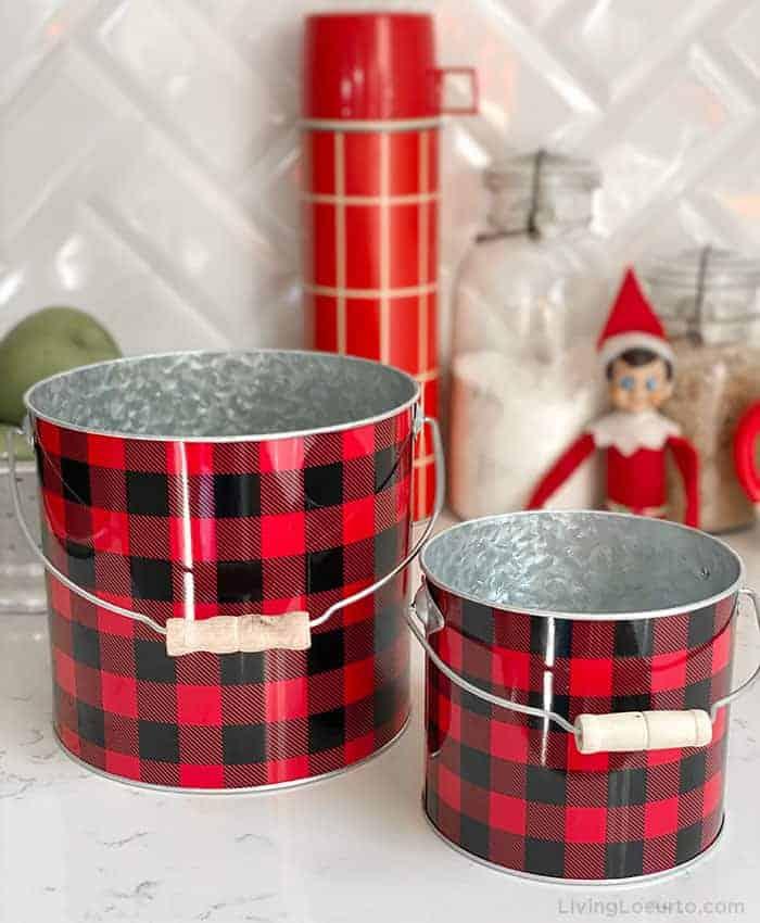 Buffalo Check Christmas Centerpiece Buckets
