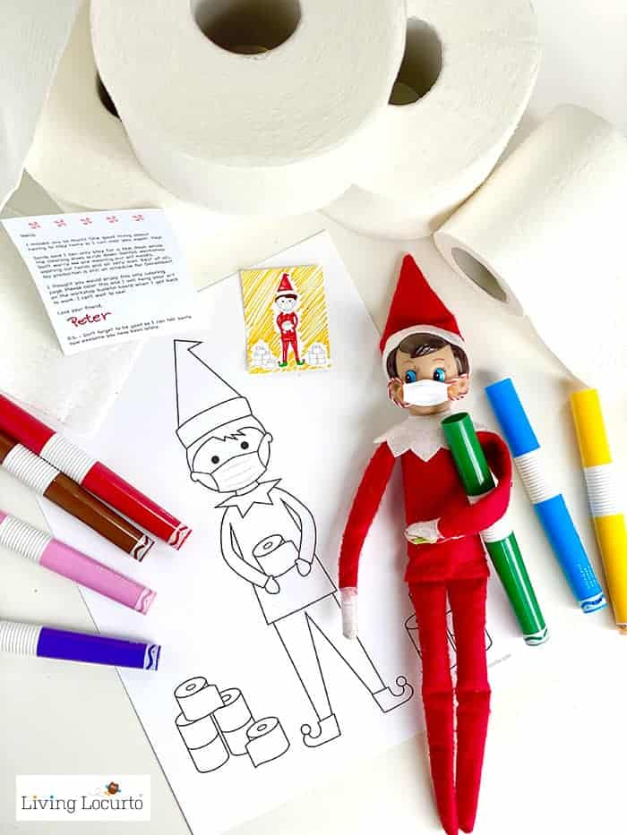 Quarantine Elf - Free Printable Coloring Page and Face Mask