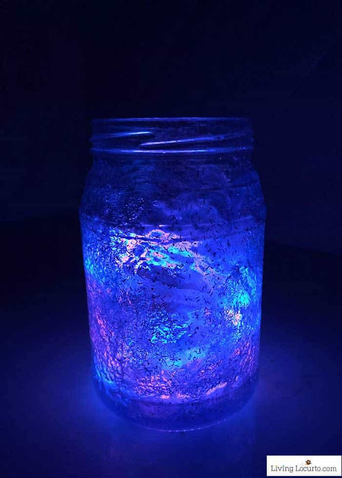 How to make Glow in the Dark Galaxy Jars. Easy craft tutorial by Living Locurto.