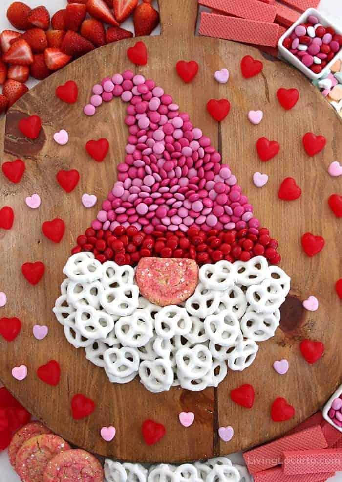 Valentine Gnome Dessert Board - Chocolate candy charcuterie shaped like a gnome
