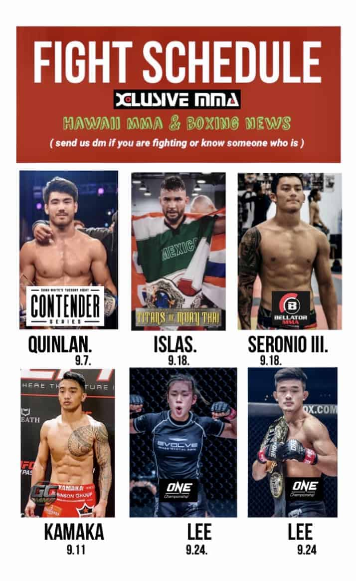 Hawaii Fighter Fight Schedule for September 2021
