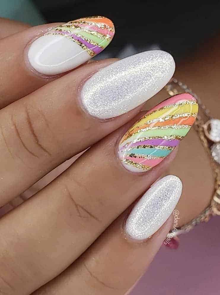 rainbow nails acrylic, rainbow glitter nails