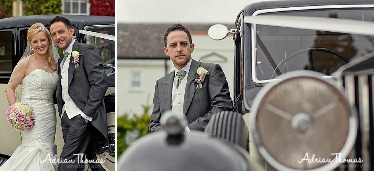 Groom with wedding car