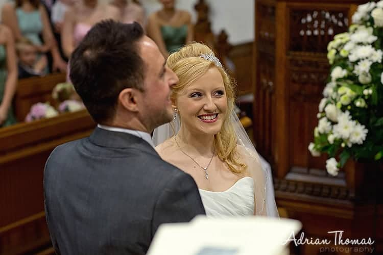 Image of happy bride during her wedding service