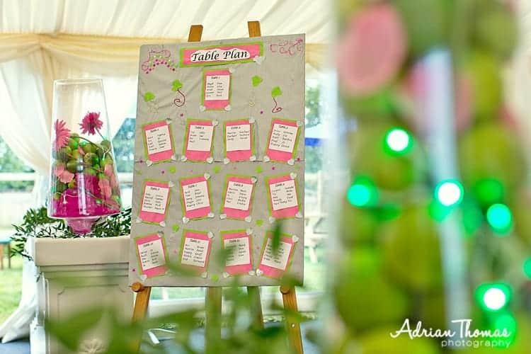 Llanerch marquee table plan