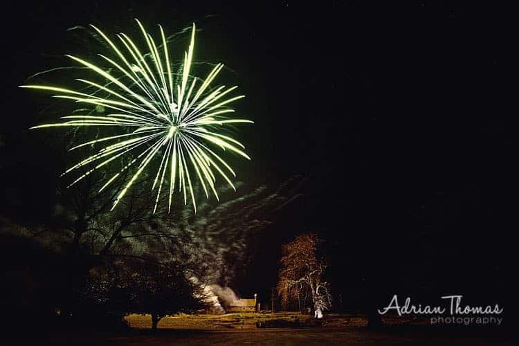 Llansantffraed Court Hotel wedding firework display from gardens over church