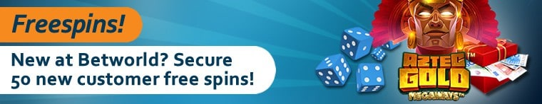50 new player free spins + 100% welcome bonus