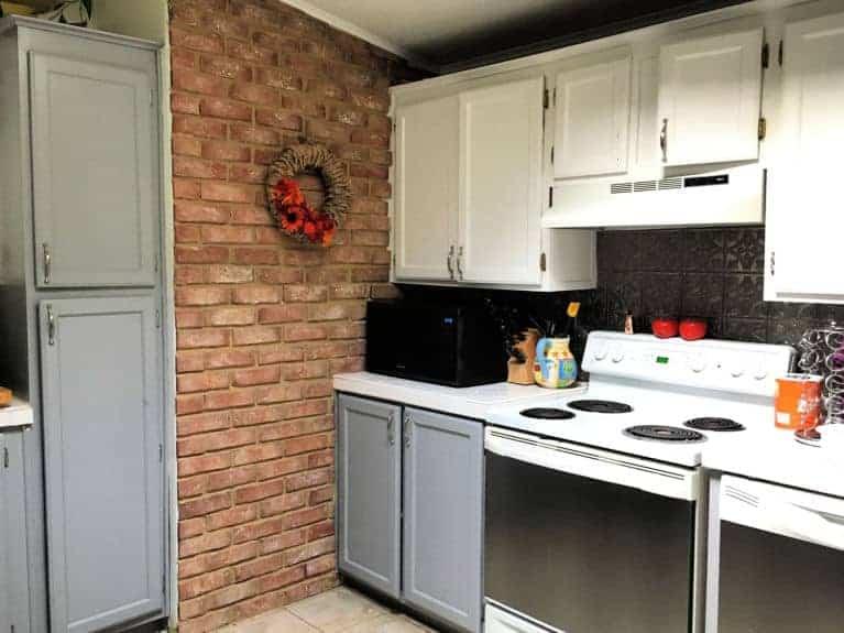 paper wreath in farmhouse kitchen