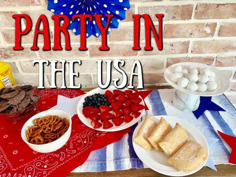"""close up of american buffet table with """"Party in the USA"""" graphic overlay"""