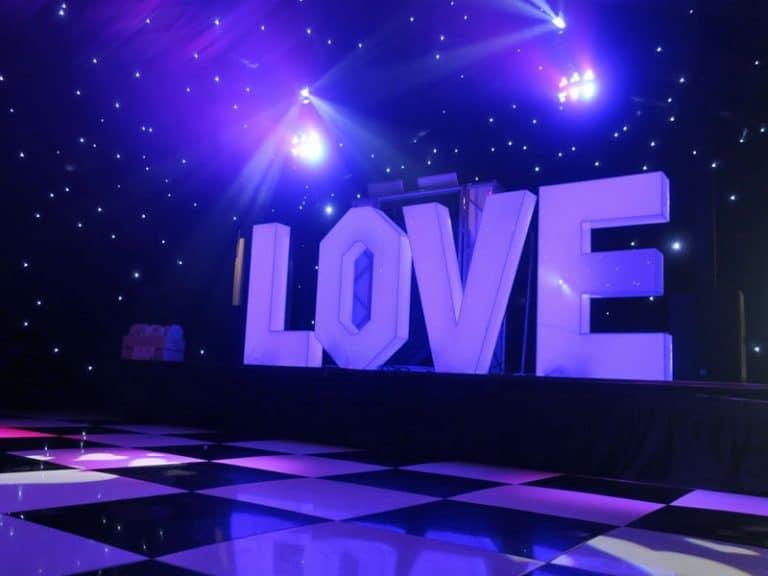 LOVE letter disco setup in Cambridgeshire, Norfolk & Suffolk
