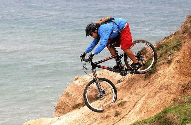 mountain biker steep descend