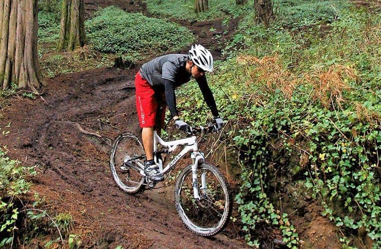 mountain biker descending