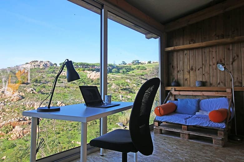 cowork desk with chillout sofa