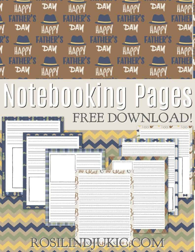 Grab these FREE colorful and masculine Father's Day Notebooking pages with backgrounds of hates, mustaches, pipes, and argyle patterns. #alittlerandr #notebooking #notebookingpages #freeprintables #fathersday