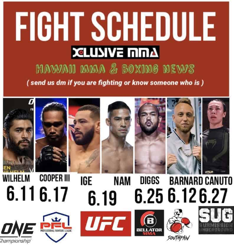 Hawaii MMA and Boxing Fight Schedule June 2021
