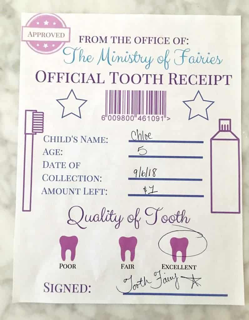 tooth fairy receipt filled out