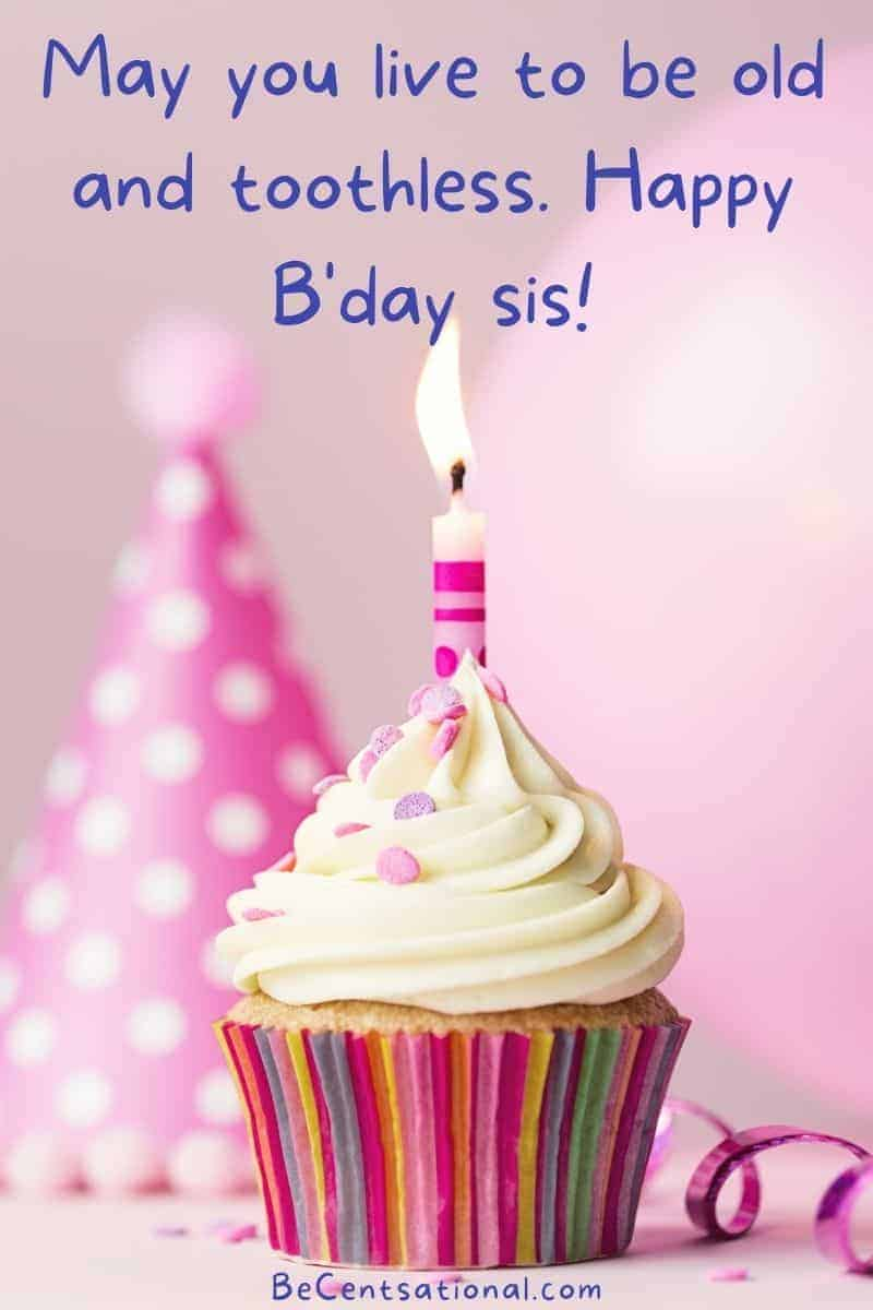 happy birthday sister funny   cupcake with one birthday candle