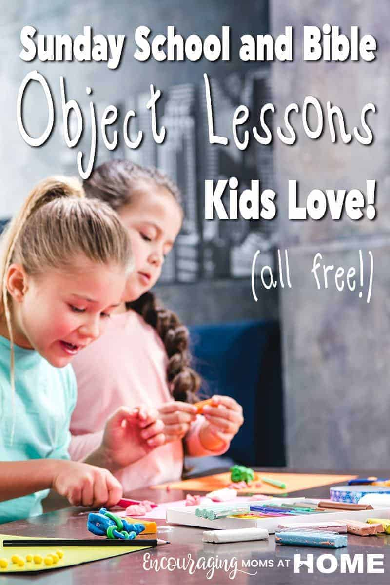 Finding quality, free Bible lessons for kids can be a dauntingtask. Here are 10 awesome and fun Bible lessons for kids. Two kids enjoy Bible class. Text Overlay Sunday school and Bible Object Lessons Kids Love.