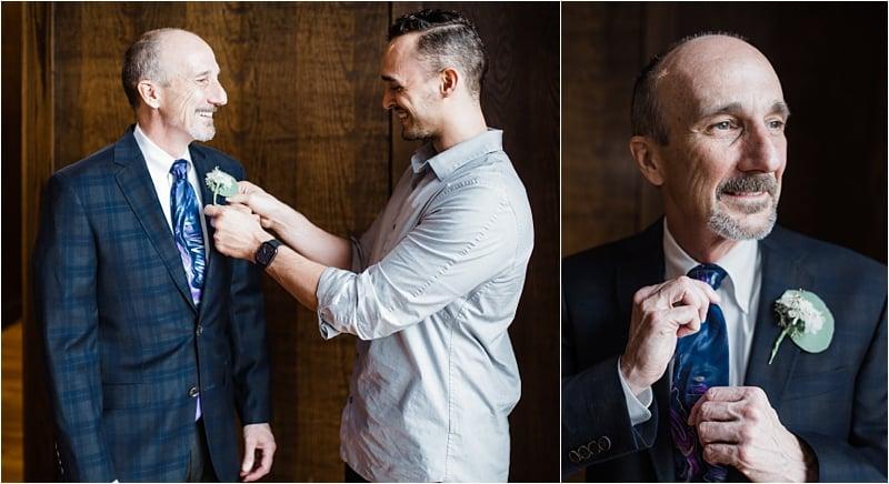 groom getting ready, covid-19 wedding