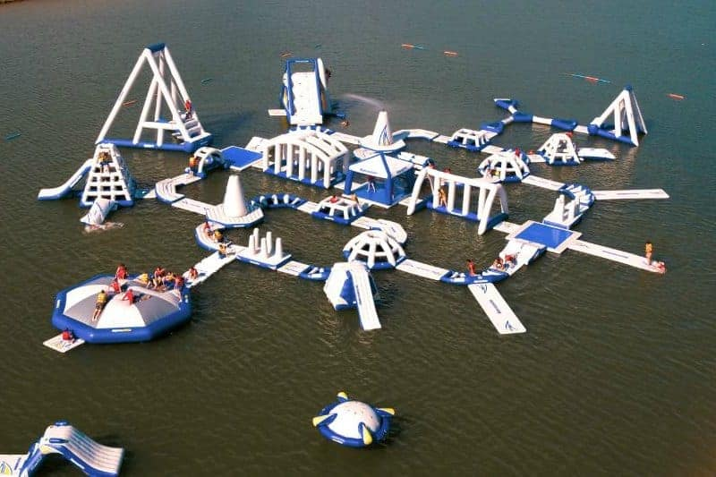 Inflatable obstacle course on lake in Wichita - Splash Aqua Park