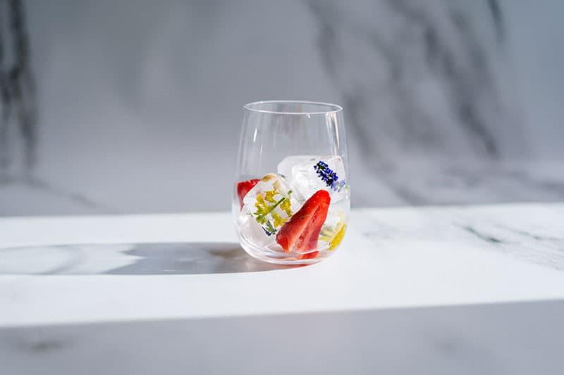 Frozen fruit in a glass