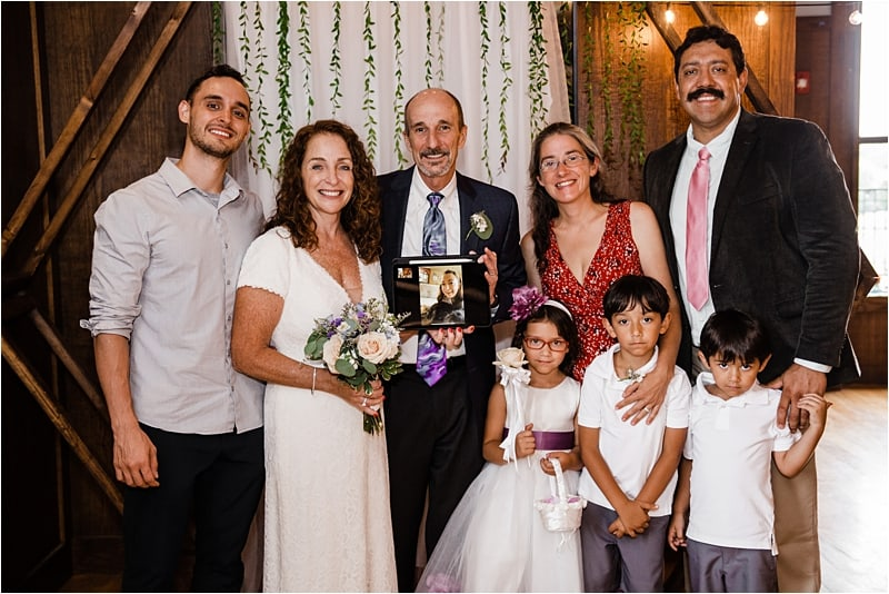 family portrait after ceremony at wedding, covid-19 wedding, social distancing wedding,