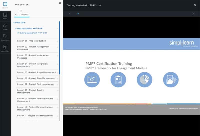 Simplilearn Online PMP Course