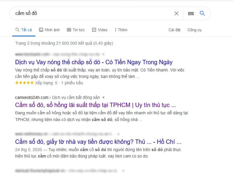 Kết quả tìm kiếm từ khóa cầm sổ đỏ trên google search