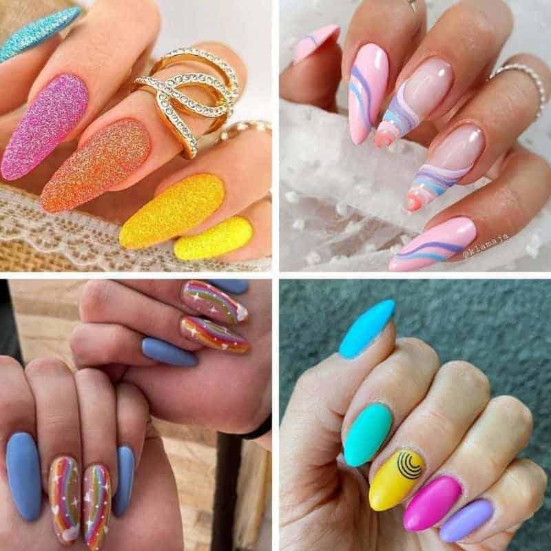 Summer Rainbow Nails, summer nail designs