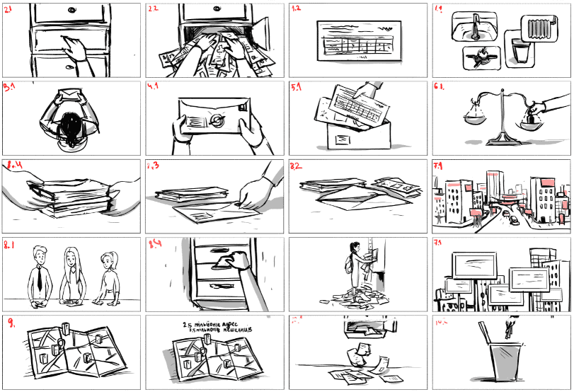 """Storyboard for the video """"Nokan Advertisement in the Envelopes Explainer video"""""""
