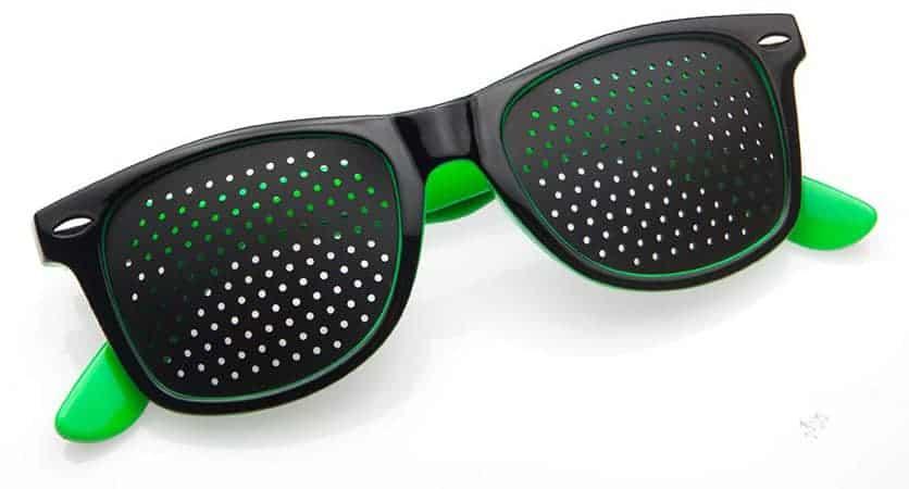 Occhiali con fori stenopeici Classic green Dual Dream ® dispositivo per ginnastica oculare