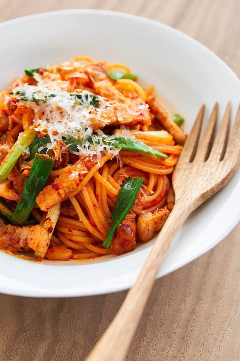 This vibrant spicy Kimchi Pasta is made with just a handful of ingredients and comes together in the time it takes to boil pasta.