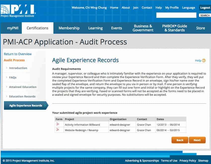PMI-ACP Audit - Experience Verification Form