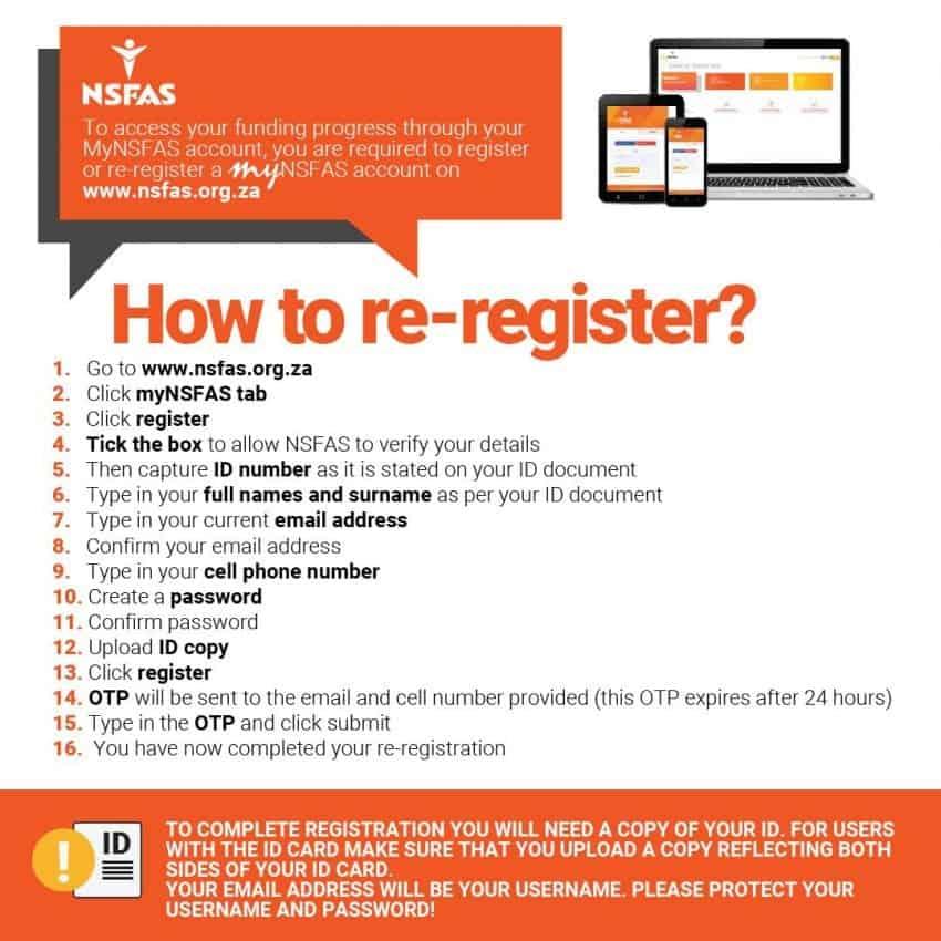re-register for nsfas