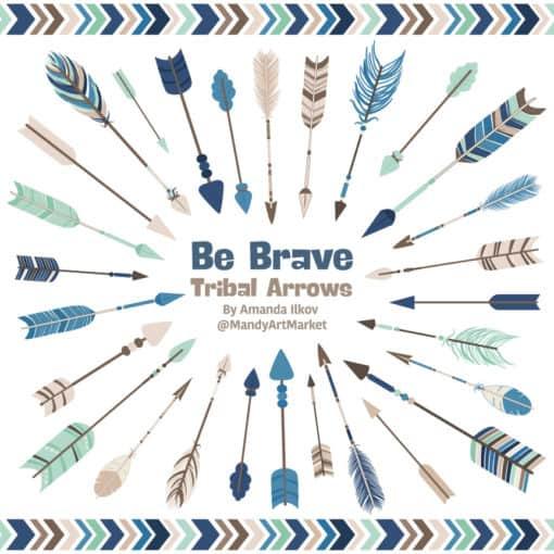 Navy & Mint Tribal Arrows Clipart