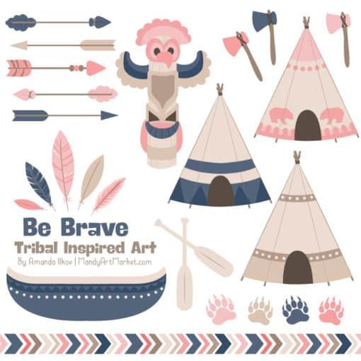 Navy & Blush Tribal Clipart